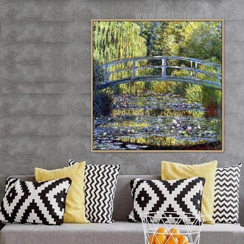 The Japanese Bridge the Water Lily Pond Oscar Claude Monet Botanical Landscape Impressionism Reproduction Portrait Picture Canvas Print for Room Wall Adornment