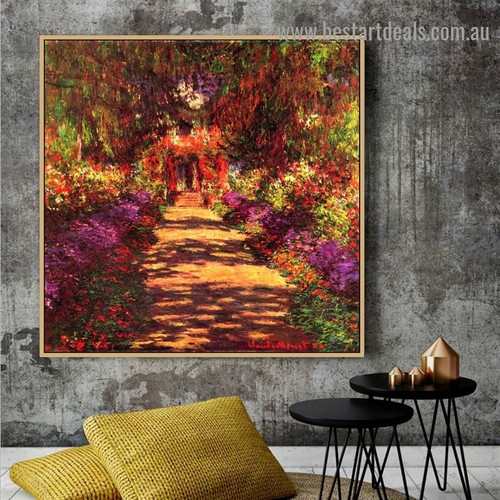 Pathway in Monets Garden at Giverny Oscar Claude Monet Botanical Landscape Impressionism Reproduction Portrait Picture Canvas Print for Room Wall Garniture