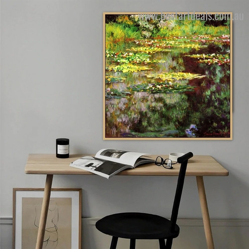 Water Lilies VII Oscar Claude Monet Botanical Landscape Impressionism Reproduction Artwork Photo Canvas Print for Room Wall Adornment