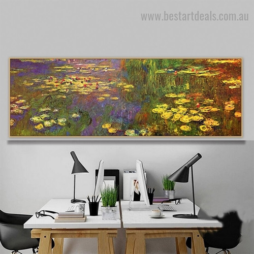 Water Lilies VIII Oscar Claude Monet Botanical Landscape Impressionism Reproduction Artwork Image Canvas Print for Room Wall Garnish