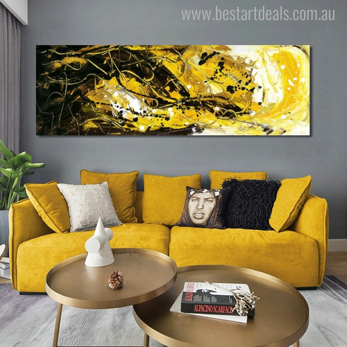Twisty Lines Abstract Contemporary Panoramic Painting Canvas Print for Lounge Room Wall Getup