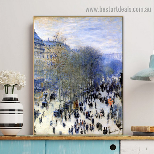 Boulevard of Capucines Oscar Claude Monet Figure Cityscape Impressionism Reproduction Portrait Picture Canvas Print for Room Wall Adornment