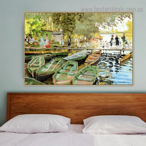 Bathers at La Grenouillere Oscar Claude Monet Botanical Figure Landscape Impressionism Reproduction Portrait Photo Canvas Print for Room Wall Décor