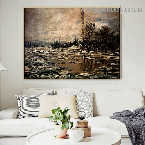 The Break up of the Ice Oscar Claude Monet Botanical Landscape Impressionism Reproduction Portrait Photo Canvas Print for Room Wall Decoration