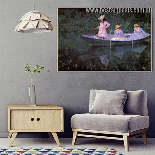 In the Norvegienne Boat at Giverny Oscar Claude Monet Figure Landscape Impressionism Reproduction Portrait Painting Canvas Print for Room Wall Ornament