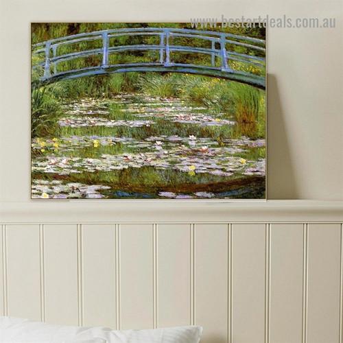 The Japanese Bridge Oscar Claude Monet Botanical Landscape Impressionism Reproduction Portrait Picture Canvas Print for Room Wall Drape