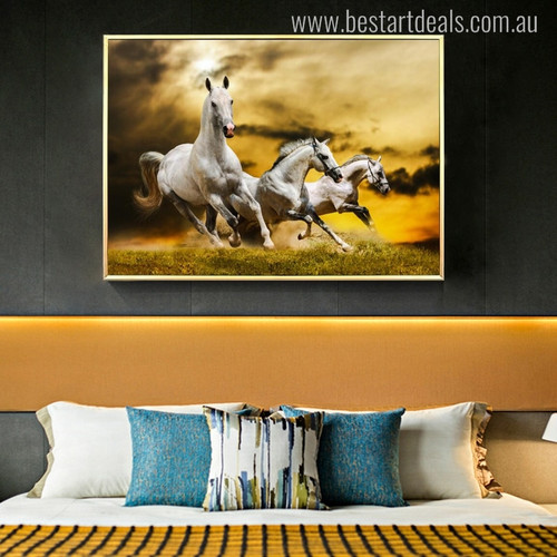 White Horses Contemporary Animal Picture Canvas Print for Room Wall Drape