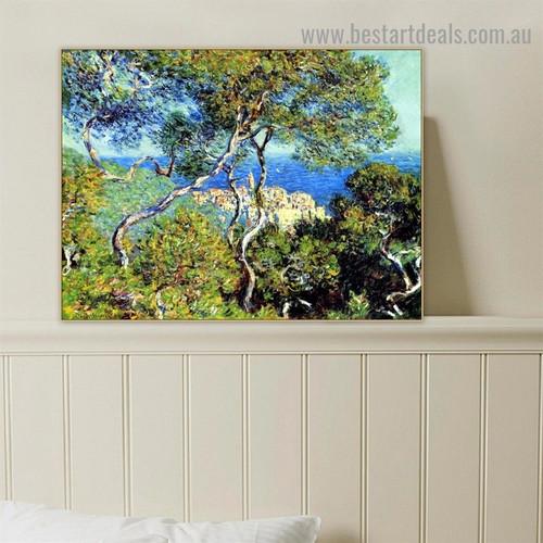Bordighera Oscar Claude Monet Botanical Landscape Impressionism Reproduction Artwork Smudge Canvas Print for Room Wall Ornament