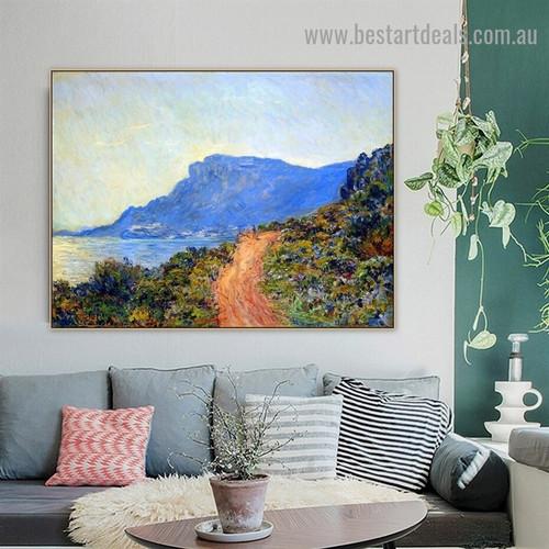 The Corniche of Monaco Oscar Claude Monet Botanical Landscape Impressionism Reproduction Artwork Photo Canvas Print for Room Wall Décor