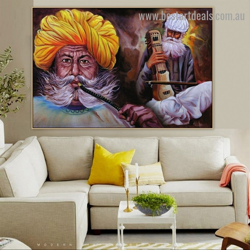 Traditional Rajasthani Musician Figure Music Portrait Image Canvas Print for Room Wall Ornament