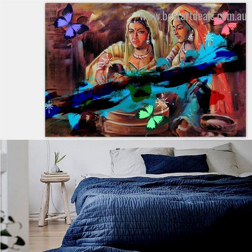 Traditional Village Women Botanical Figure Traditional Portrait Photo Canvas Print for Room Wall Garniture