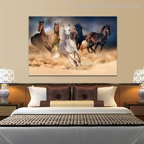 White Horses Modern Animal Painting Print for Room Wall Drape