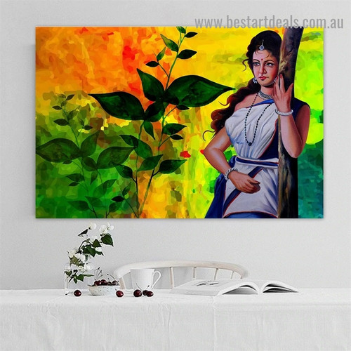 Woman in Saree Botanical Figure Traditional Artwork Image Canvas Print for Room Wall Ornament