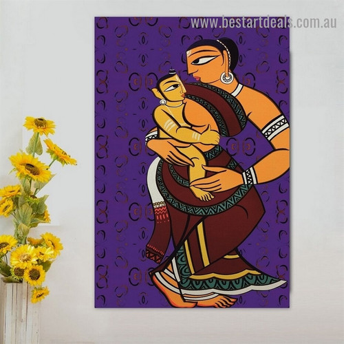 Women with Child Figure Traditional Portrait Photo Canvas Print for Room Wall Decoration