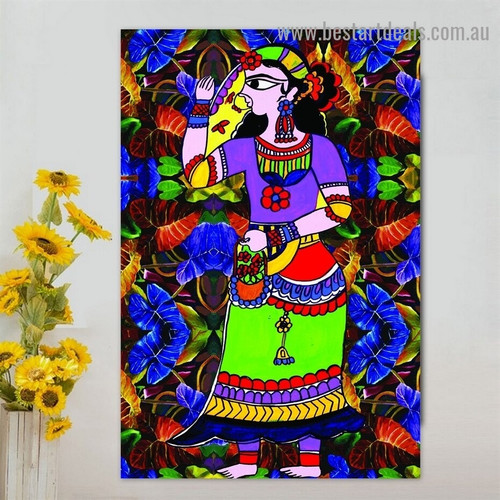 Traditional Woman Botanical Abstract Figure Artwork Photo Canvas Print for Room Wall Adornment