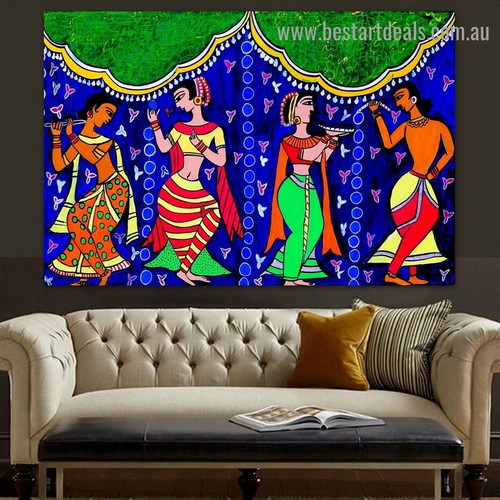 Indian Traditional Dance Figure Modern Artwork Picture Canvas Print for Room Wall Ornament