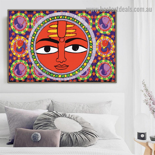 Madhubani Mithila Sun Religion & Spirituality Traditional Portrait Image Canvas Print for Room Wall Decoration