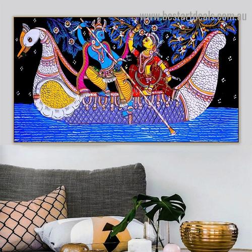 Radha Krishna Jodi Religious Figure Traditional Portrait Picture Canvas Print for Room Wall Ornament