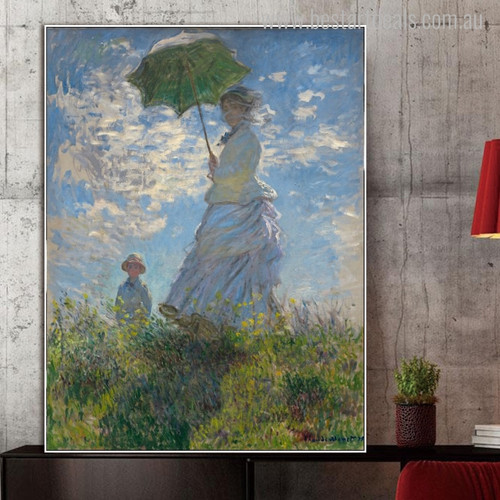 Woman Parasol Mix Artist Reproduction Painting Canvas Print for Wall Decor