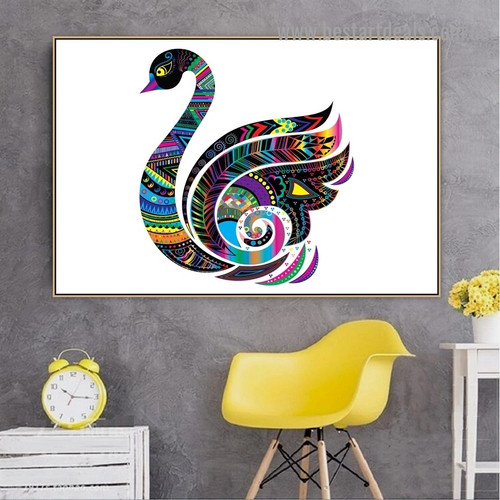 Colorful Swan Bird Animal Modern Portrait Picture Canvas Print for Room Wall Décor