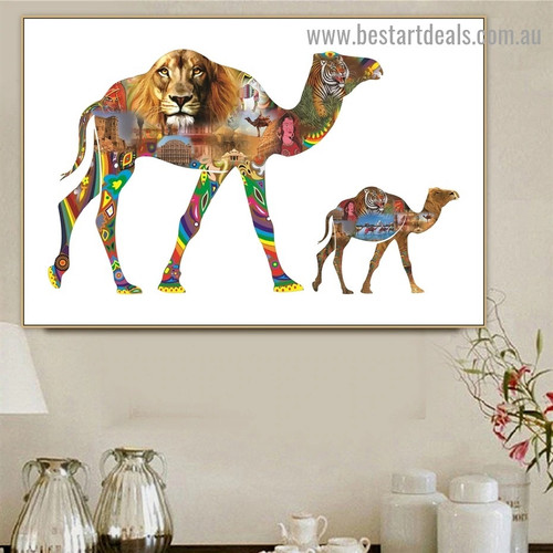 Camel and Calf Animal Modern Landscape Artwork Picture Canvas Print for Room Wall Ornament