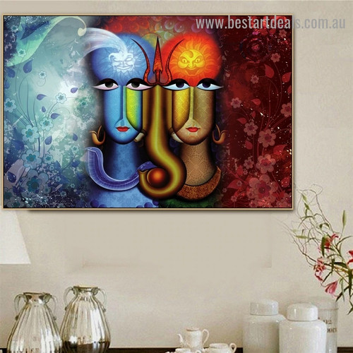 Shiv Parvati Jodi Botanical Religion & Spirituality Traditional Portrait Photo Canvas Print for Room Wall Adornment