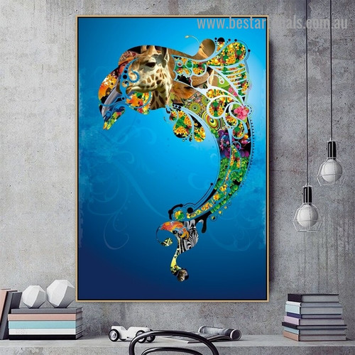Mixed Dolphin Animal Water Modern Artwork Picture Canvas Print for Room Wall Drape