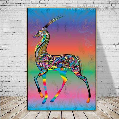 Colorful Deer Art Animal Abstract Modern Artwork Image Canvas Print for Room Wall Ornament
