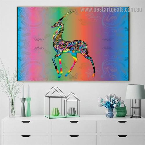 Multicolor Reindeer Art Animal Abstract Modern Artwork Image Canvas Print for Room Wall Garnish