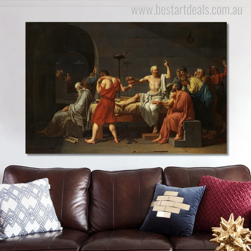 Death of Socrates Vintage Mix Artist Reproduction Painting Canvas Print for Room Wall Decor