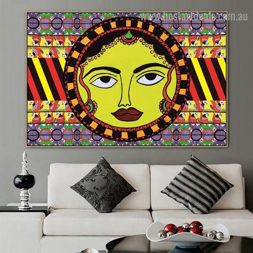 Mithila Sun Design Botanical Bird Abstract Traditional Artwork Image Canvas Print for Room Wall Adornment