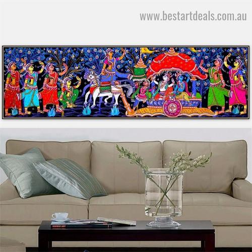 Radha Krishna Leela Religious Figure Animal Traditional Artwork Photo Canvas Print for Room Wall Garniture