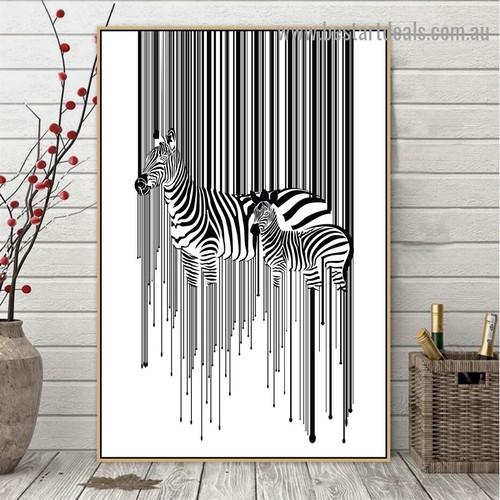 Zebra and Calf Animal Modern Artwork Image Canvas Print for Room Wall Adornment