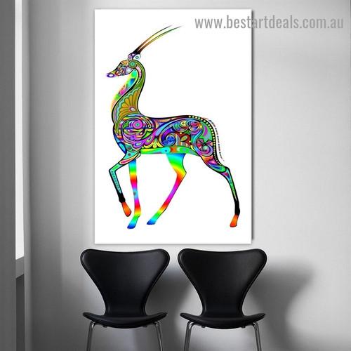 Rainbow Deer Art Animal Modern Artwork Picture Canvas Print for Room Wall Drape