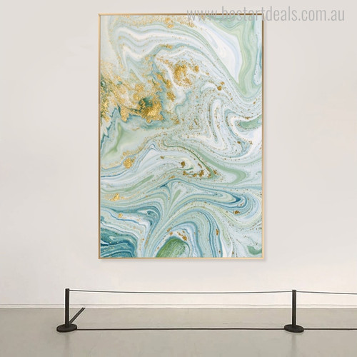 Golden Spots Abstract Marble Painting Canvas Print for Interior Wall Decor