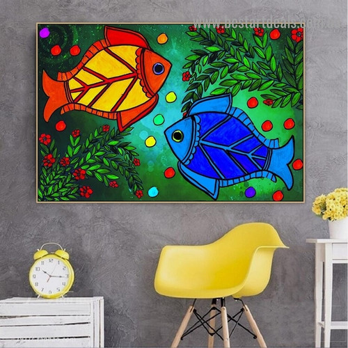 Colorful Fishes Botanical Animal Traditional Portrait Painting Canvas Print for Room Wall Garnish