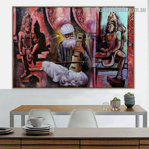 Traditional Indian Music Figure Artwork Image Canvas Print for Room Wall Garniture