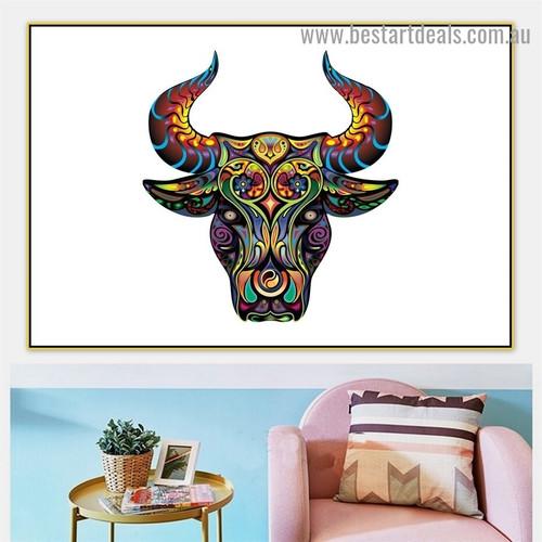 Bull Art Design Animal Modern Portrait Painting Canvas Print for Room Wall Adornment