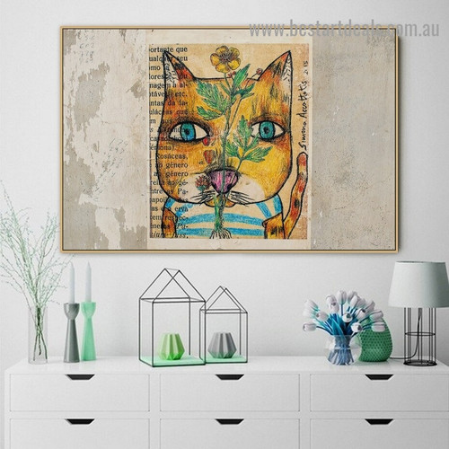Abstract Cat Street Art Animal Graffiti Portrait Image Canvas Print for Room Wall Garnish