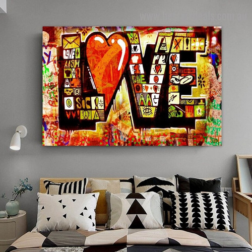 Love Art Design Typography Graffiti Artwork Picture Canvas Print for Room Wall Decoration