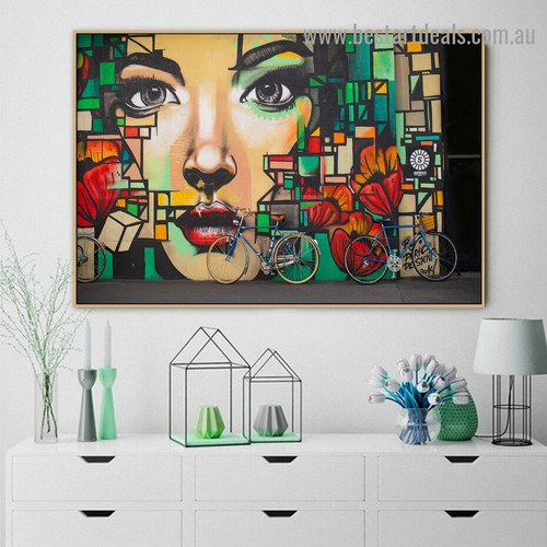 Abstract Girl Face Figure Graffiti Artwork Image Canvas Print for Room Wall Garniture