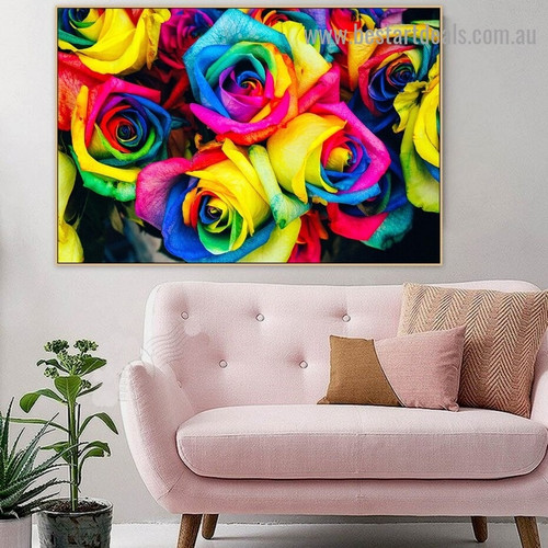 Rainbow Flower Abstract Botanical Graffiti Portrait Picture Canvas Print for Room Wall Adornment