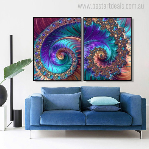 Fractal Abstract Modern Painting Canvas Print for Dining Room Wall Getup