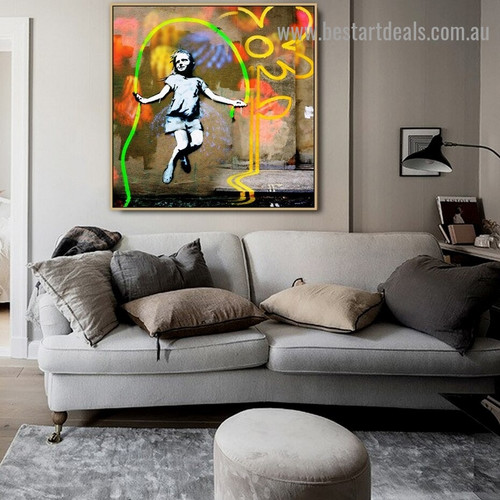 Abstract Skipping Girl Kids Graffiti Artwork Photo Canvas Print for Room Wall Ornament