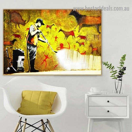 Banksy Cave Cleaner Abstract Figure Graffiti Portrait Painting Canvas Print for Room Wall Garniture