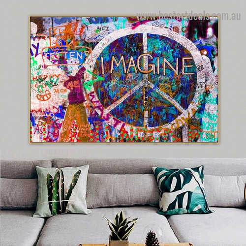 Peace Symbols Abstract Typography Graffiti Portrait Photo Canvas Print for Room Wall Garniture