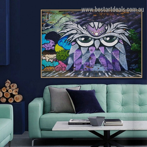 Owl Art Bird Abstract Graffiti Portrait Picture Canvas Print for Room Wall Décor