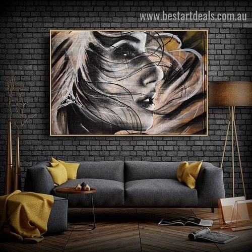 Hairy Girl Face Figure Graffiti Artwork Picture Canvas Print for Room Wall Garniture