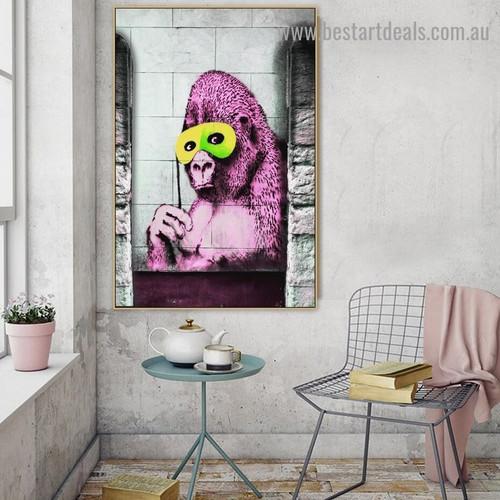 Banksy Gorilla Abstract Animal Modern Artwork Photo Canvas Print for Room Wall Adornment