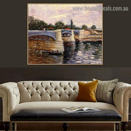 The Seine with the Pont de la Grande Jette Vincent Van Gogh Cityscape Post Impressionism Artwork Photo Canvas Print for Room Wall Adornment